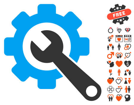 Gear And Wrench icon with bonus marriage symbols. Vector illustration style is flat iconic elements for web design, app user interfaces. Illustration
