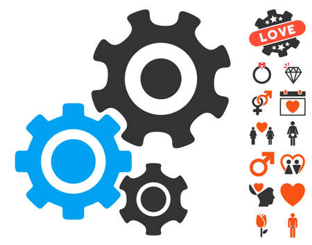 Gear Mechanism pictograph with bonus valentine icon set. Vector illustration style is flat iconic elements for web design, app user interfaces. Illustration