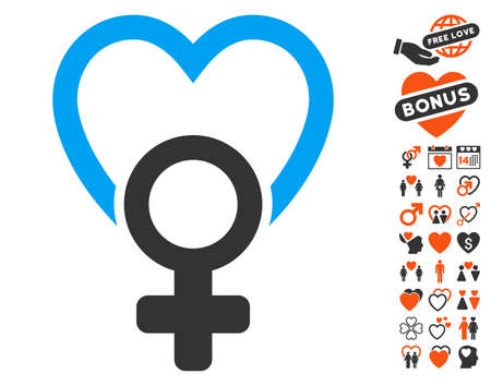 Female Love icon with bonus dating icon set. Vector illustration style is flat iconic symbols for web design, app user interfaces.