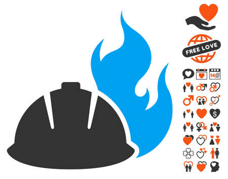 Fire Protection Helmet pictograph with bonus lovely design elements. Vector illustration style is flat iconic elements for web design, app user interfaces.