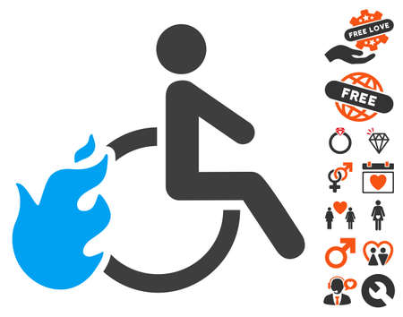 Fired Disabled Person pictograph with bonus valentine graphic icons. Vector illustration style is flat iconic symbols for web design, app user interfaces. Illustration