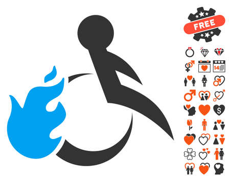 Fired Patient pictograph with bonus decoration design elements. Vector illustration style is flat iconic symbols for web design, app user interfaces.