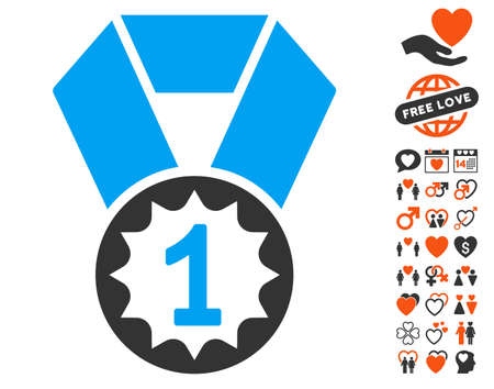 First Place Medal pictograph with bonus decorative icon set. Vector illustration style is flat iconic symbols for web design, app user interfaces.