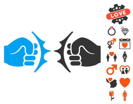 fist fight: Fist Fight icon with bonus passion icon set. Vector illustration style is flat iconic symbols for web design, app user interfaces.