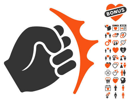 Fist Strike pictograph with bonus decorative images. Vector illustration style is flat iconic symbols for web design, app user interfaces. Illustration