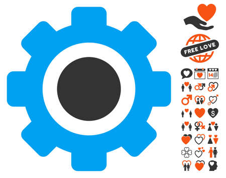 Gear icon with bonus decoration clip art. Vector illustration style is flat iconic symbols for web design, app user interfaces.