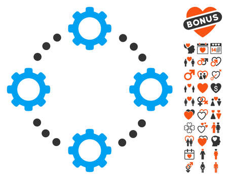 Gear Virtual Connection icon with bonus romantic graphic icons. Vector illustration style is flat iconic elements for web design, app user interfaces. Illustration