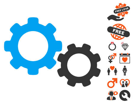 Gears icon with bonus lovely design elements. Vector illustration style is flat iconic symbols for web design, app user interfaces.
