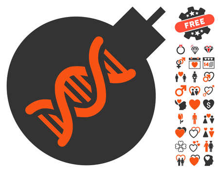bombshell: Genetic Weapon pictograph with bonus lovely graphic icons. Vector illustration style is flat iconic elements for web design, app user interfaces. Illustration