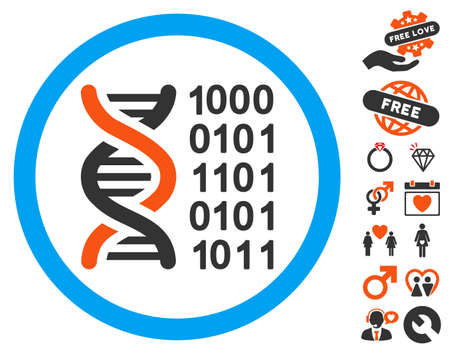 to encode: Genetical Code icon with bonus passion pictograms. Vector illustration style is flat iconic elements for web design, app user interfaces. Illustration