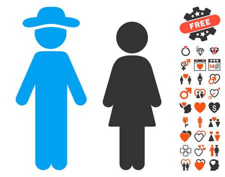 Gentleman And Lady icon with bonus dating images. Vector illustration style is flat iconic symbols for web design, app user interfaces.