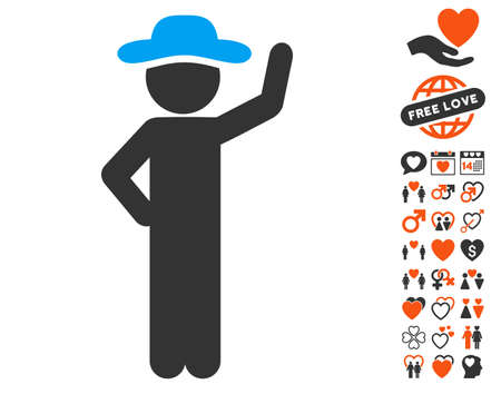 Gentleman Assurance pictograph with bonus marriage design elements. Vector illustration style is flat iconic symbols for web design, app user interfaces.