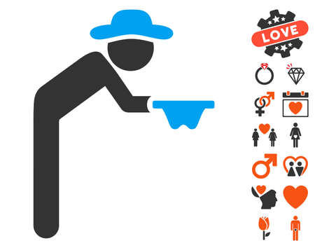 Gentleman Beggar pictograph with bonus amour pictograms. Vector illustration style is flat iconic symbols for web design, app user interfaces.