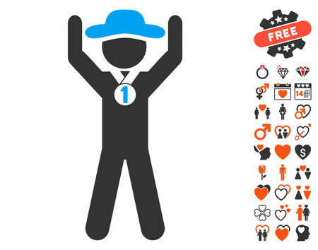 Gentleman Champion pictograph with bonus lovely graphic icons. Vector illustration style is flat iconic symbols for web design, app user interfaces.