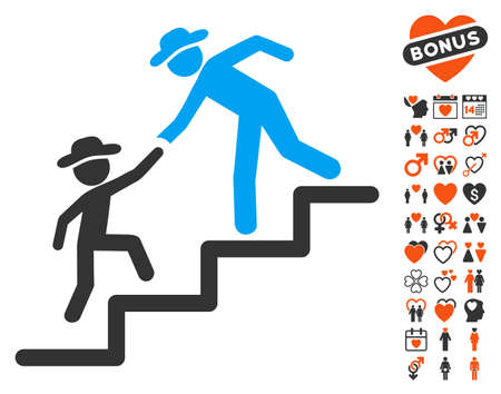 Gentleman Education Steps pictograph with bonus marriage symbols. Vector illustration style is flat iconic elements for web design, app user interfaces.