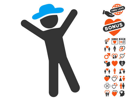 Gentleman Joy pictograph with bonus love pictures. Vector illustration style is flat iconic symbols for web design, app user interfaces. Illustration