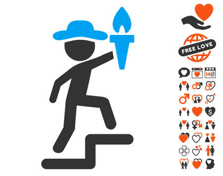 Gentleman Leader pictograph with bonus love pictures. Vector illustration style is flat iconic symbols for web design, app user interfaces. Illustration