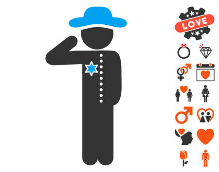 Gentleman Officer icon with bonus marriage pictograph collection. Vector illustration style is flat iconic elements for web design, app user interfaces.