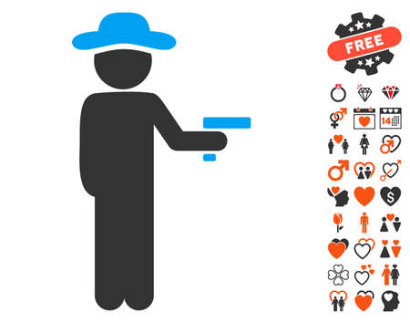 Gentleman Robber pictograph with bonus valentine icon set. Vector illustration style is flat iconic elements for web design, app user interfaces. Illustration