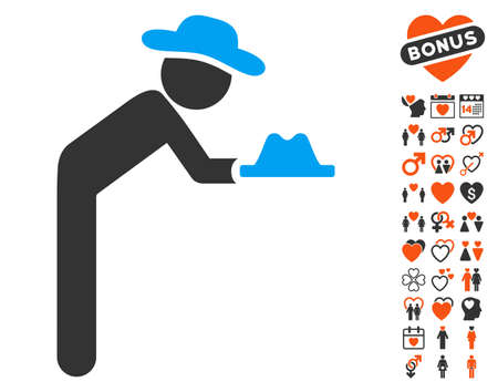 Gentleman Servant pictograph with bonus passion graphic icons. Vector illustration style is flat iconic symbols for web design, app user interfaces.