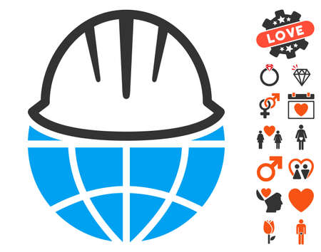 Global Helmet icon with bonus romantic clip art. Vector illustration style is flat iconic elements for web design, app user interfaces.