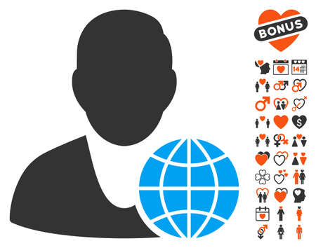 Global Manager icon with bonus marriage design elements. Vector illustration style is flat iconic symbols for web design, app user interfaces.