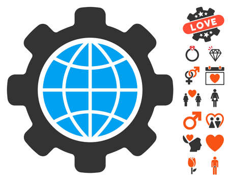 Global Options pictograph with bonus decorative icon set. Vector illustration style is flat iconic elements for web design, app user interfaces.