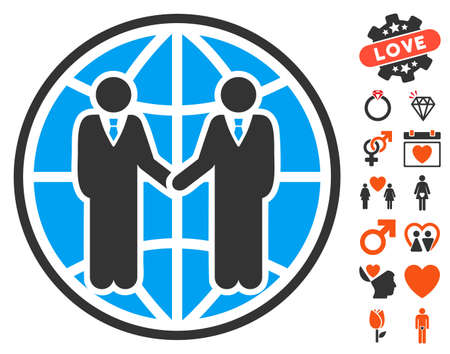Global Partnership pictograph with bonus marriage clip art. Vector illustration style is flat iconic symbols for web design, app user interfaces.