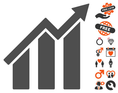 Bar Chart Trend Icon With Bonus Marriage Design Elements Vector