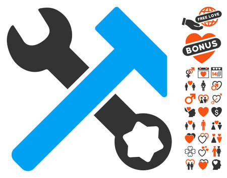 Hammer And Wrench icon with bonus dating pictures. Vector illustration style is flat iconic elements for web design, app user interfaces.