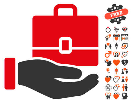 lobbying: Hand Holding Case pictograph with bonus lovely icon set. Vector illustration style is flat iconic elements for web design, app user interfaces.