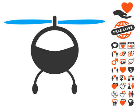 Helicopter pictograph with bonus marriage images. Vector illustration style is flat iconic symbols for web design, app user interfaces. Illustration