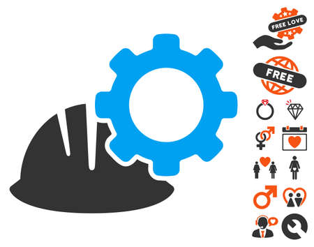 Helmet And Gear icon with bonus love clip art. Vector illustration style is flat iconic symbols for web design, app user interfaces.