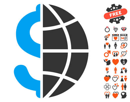 Global Business icon with bonus valentine graphic icons. Vector illustration style is flat iconic elements for web design, app user interfaces.