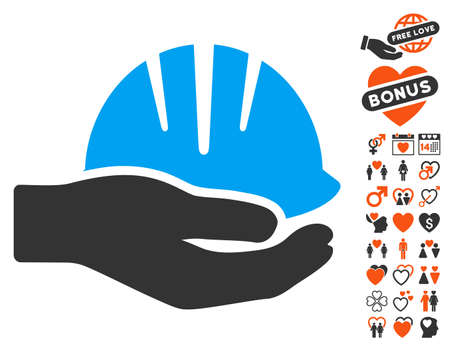 Hand With Helmet icon with bonus love pictograms. Vector illustration style is flat iconic elements for web design, app user interfaces. Illustration