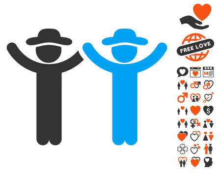 Hands Up Gentlemen pictograph with bonus amour clip art. Vector illustration style is flat iconic symbols for web design, app user interfaces. Illustration