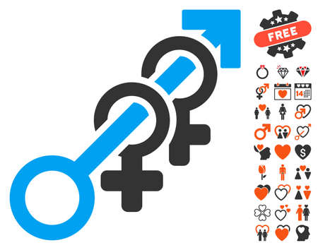 Harem pictograph with bonus passion pictograms. Vector illustration style is flat iconic elements for web design, app user interfaces.