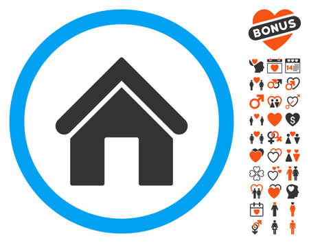 Home icon with bonus decoration pictograms. Vector illustration style is flat iconic elements for web design, app user interfaces.