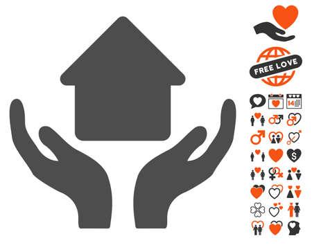 Home Care Hände Piktogramms mit Bonus-Dekoration Clip Art. Vektor-Illustration Stil ist flach ikonischen Symbole für Web-Design, App-Benutzeroberflächen.