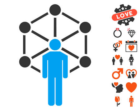 pictograph: Human Network pictograph with bonus valentine clip art. Vector illustration style is flat iconic symbols for web design, app user interfaces. Illustration
