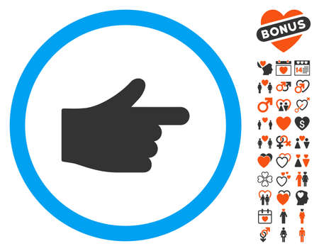 Index Hand pictograph with bonus decorative images. Vector illustration style is flat iconic symbols for web design, app user interfaces.