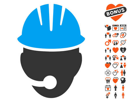 bonus: Industrial Operator pictograph with bonus marriage pictures. Vector illustration style is flat iconic elements for web design, app user interfaces.