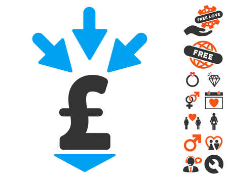 takings: Integrate Pound Payment icon with bonus dating pictures. Vector illustration style is flat iconic elements for web design, app user interfaces. Illustration