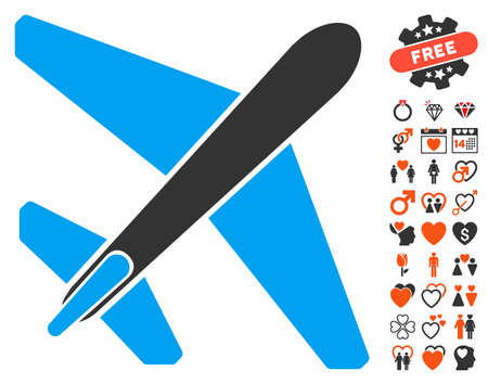 usaf: Jet Airplane pictograph with bonus romantic pictograph collection. Vector illustration style is flat iconic elements for web design, app user interfaces.