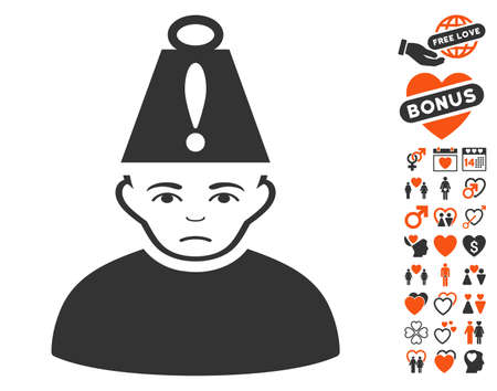 Head Stress pictograph with bonus romantic pictures. Vector illustration style is flat iconic symbols for web design, app user interfaces. Illustration
