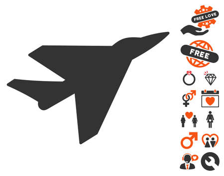usaf: Intercepter pictograph with bonus love pictures. Vector illustration style is flat iconic symbols for web design, app user interfaces.