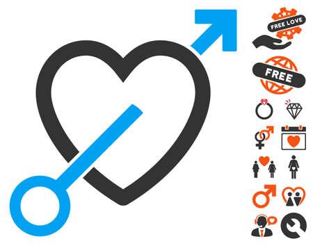 Love Arrow icon with bonus love symbols. Vector illustration style is flat iconic elements for web design, app user interfaces. Illustration