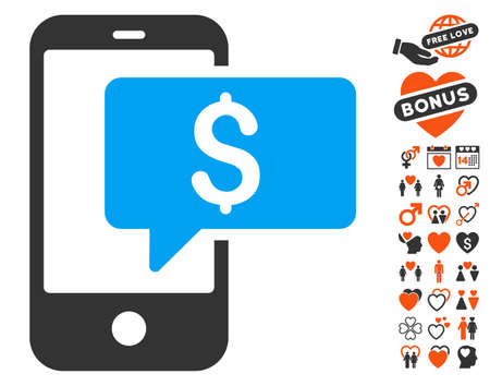 sms payment: Money Phone SMS pictograph with bonus marriage pictograph collection. Vector illustration style is flat iconic symbols for web design, app user interfaces. Illustration