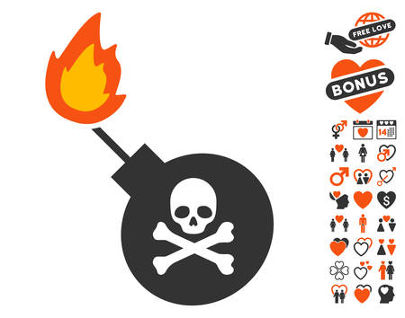 Mortal Bomb pictograph with bonus love pictograms. Vector illustration style is flat iconic symbols for web design, app user interfaces.