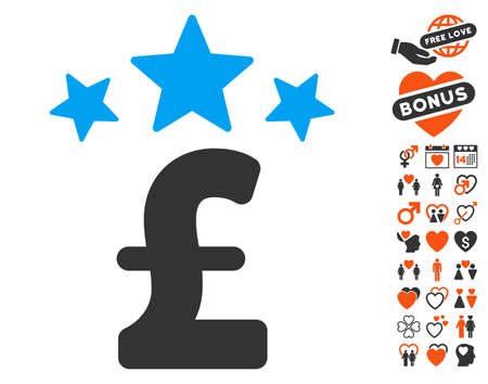 Pound Business Stars pictograph with bonus love pictograms. Vector illustration style is flat iconic elements for web design, app user interfaces.